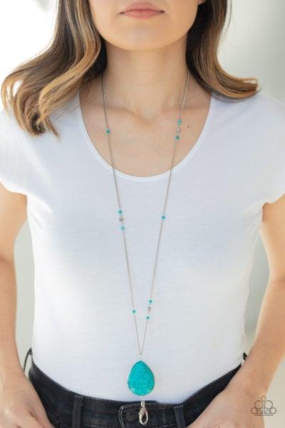 Desert Meadow - Turquoise Teardrop Lanyard Necklace