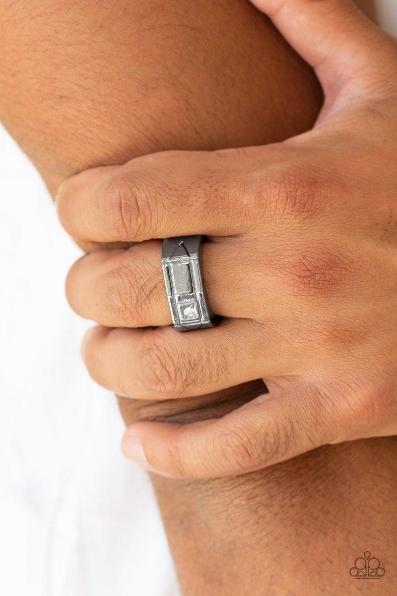 Atlas - Gunmetal with a Rhinestone Men's Ring
