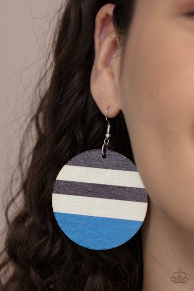 Pre-Sale Yacht Party - Blue, Brown & Beige striped Wooden Earrings