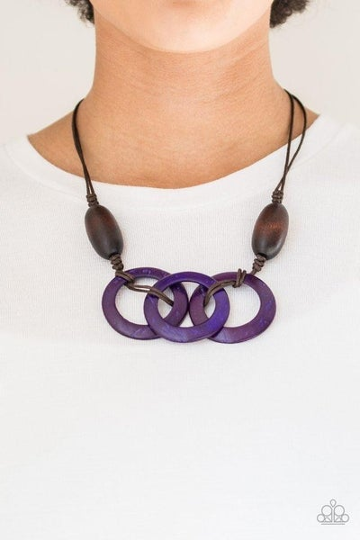 Bahama Drama - Brown Wooden Beads with Purple Wooden Hoops Necklace & Earrings