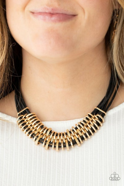 Lock, Stock, and SPARKLE - Black with sliding Gold fittings Necklace & Earrings
