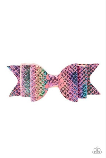 BOW Your Mind - Pink Iridescent Mermaid Scales Hair Bow