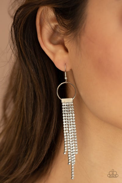 Tapered Twinkle - White Rhinestone Tassel Earrings