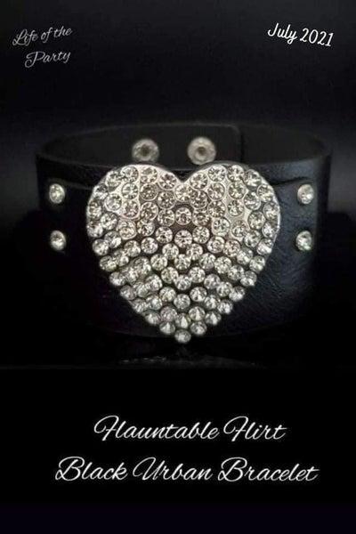Paparazzi Flauntable Flirt - Black Leather with Large Silver White Rhinestone encrusted Heart Snap Bracelet