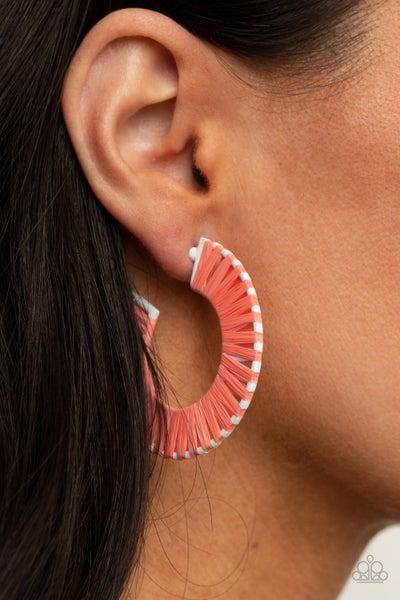 Everybody Conga! - Orange wicker-like Hoop Earrings