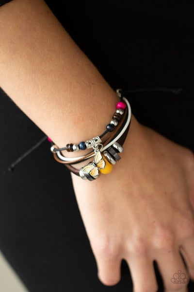 Bodacious Butterfly - Multi - Leather strands with colorful beads & Yellow Butterfly Charm Bracelet