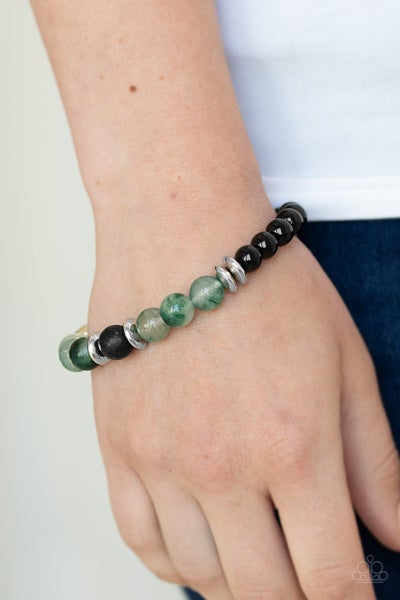 World Peace - Glassy Green Beads with Lava Beads Bracelet