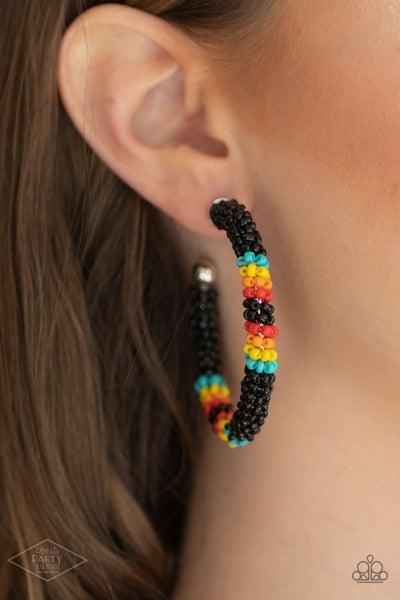 Bodaciously Beaded - Black, Blue, Yellow, Orange & Red Seed Bead Hoop Earrings