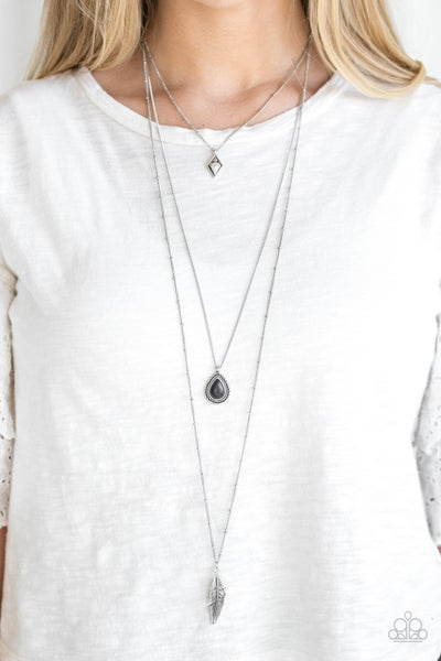 Fly The Coop - Silver with Black Teardrop stone, and Feather Charms Necklace & Earrings