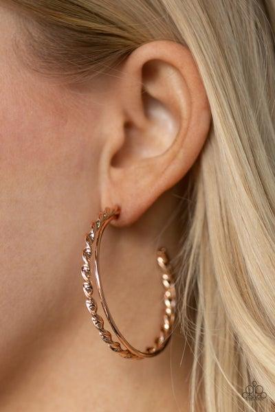 Retro Twist - Rose Gold Hoop Earrings