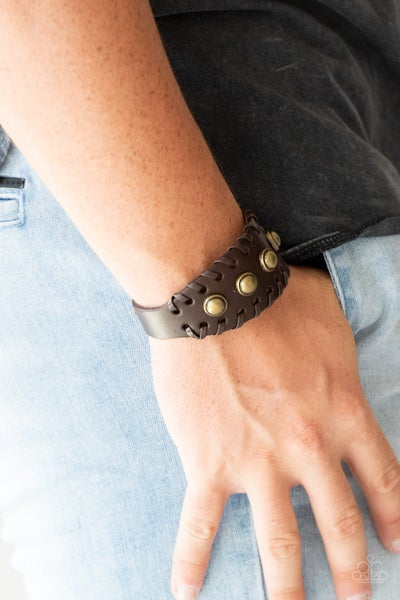 Urban Cowboy - Brown Leather with a row of Brass Beads Snap Bracelet
