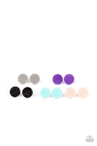 Assorted Colors of Palm Leaf Engraved Post Earrings for Kids or the Kid at Heart