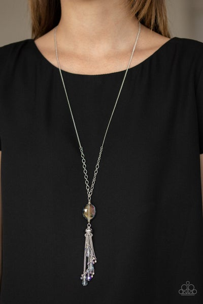 Fringe Flavor - Silver Tassel with Oval Multi - Iridescent Necklace & Earrings