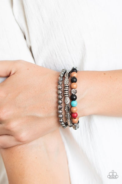 Trail Mix Mecca - Silver with Multicolored Stones Stretchy Bracelet