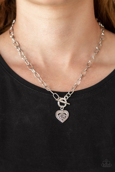 Say No AMOUR - Silver Filigree double Hearts Toggle Lock Necklace & Earrings