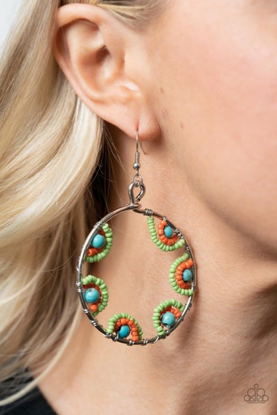 Off The Rim - Silver with Multi - Turquoise, Green & Orange Seed Bead Earrings