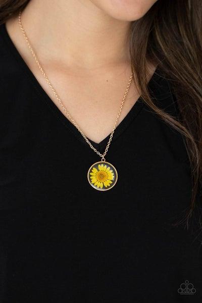 Prairie Promenade - Yellow daisy encased in a Gold Pendant Necklace & Earrings