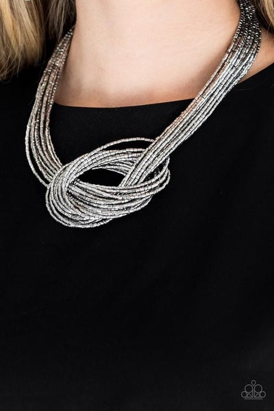 Knotted Knockout - Silver Seed Bead Necklace with Earrings