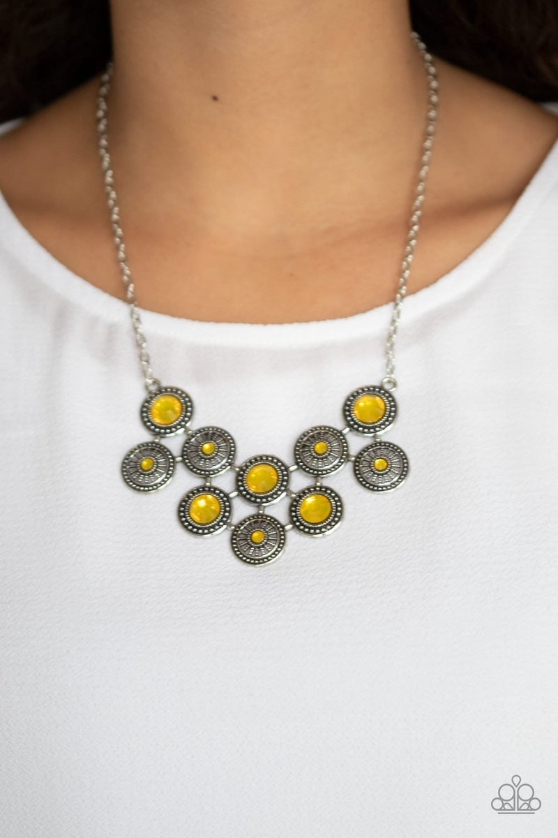 Whats Your Star Sign - Silver with Iridescent Yellow Moonstones Necklace