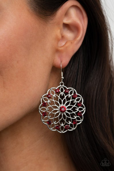 Posy Proposal - Silver floral patern with Red Rhinestones Earrings