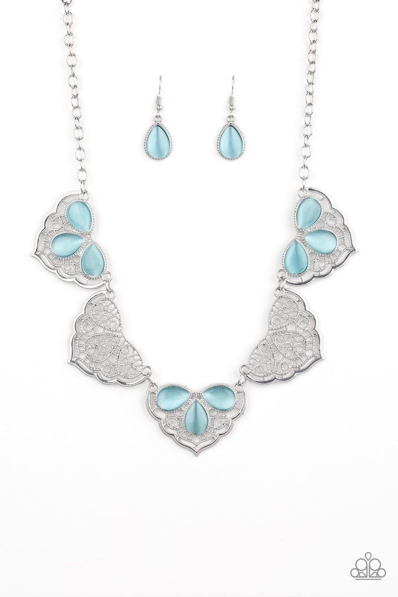 East Coast Essence - Silver Lacy Filigree with Blue Moonstones Necklace