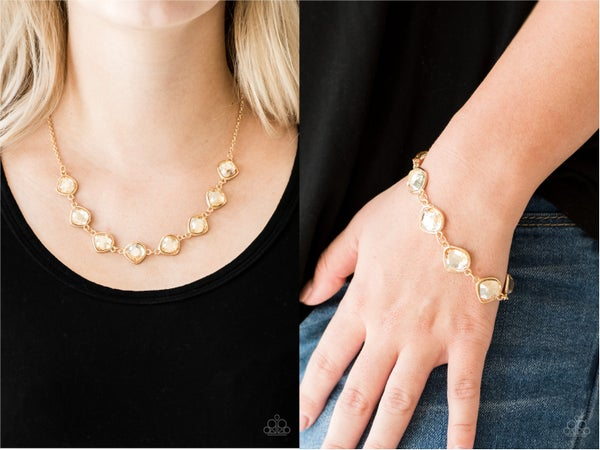 Pre-Sale NECKLACE:  The Imperfectionist and Perfect Imperfection - Gold with gold gems Necklace, Earrings & Bracelet Set