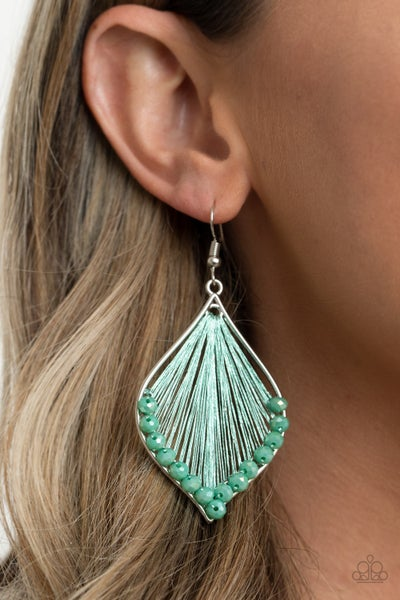 Pre-Sale Pulling at My HARP-strings  - Silver with green thread & sparkly green crystal Earrings