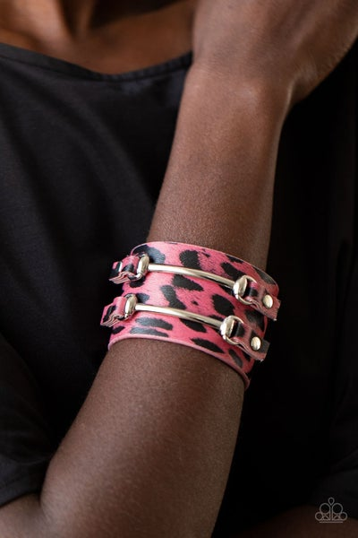 Safari Scene - Pink & Black Leather Cheetah Print with Silver accents Snap Bracelet