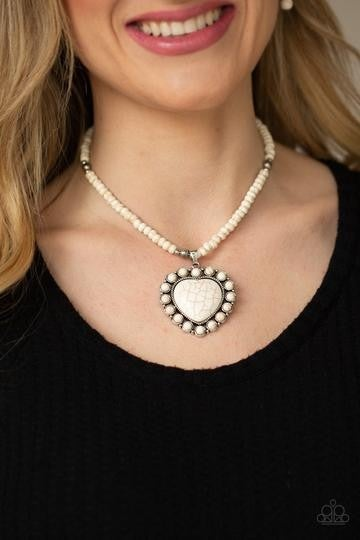 Pre-Order A Heart Of Stone and Sedona Scene - Silver with White Crackle Stone Heart Necklace, Earrings & Oblong adjustable Ring Set