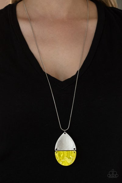 Rainbow Shores - Yellow shell-like with silver half moon frame Necklace & Earrings