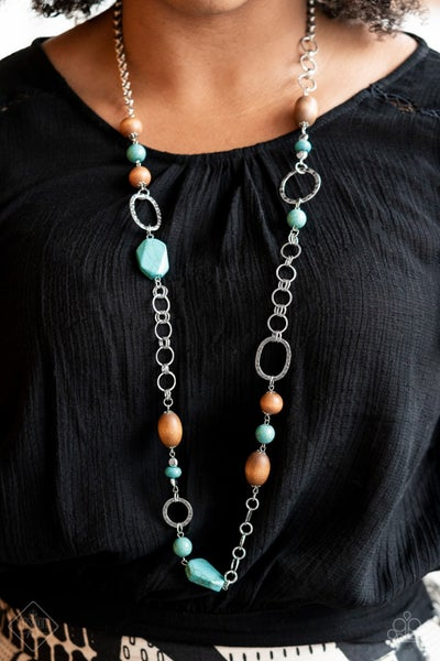 Prairie Reserve - Silver with Wood Beads with Turquoise Stones Necklace & Earrings