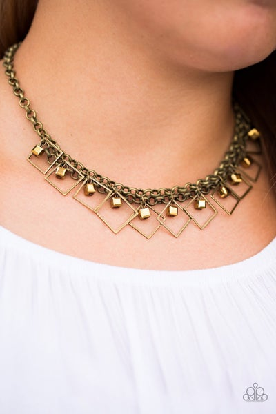 Pre-Sale GEO Down In History - Brass with glassy metallic Beads Necklace & Earrings