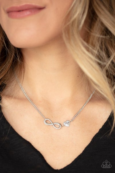 """Love Eternally - Silver Infinity Symbol with a Heart charm stamped """"Mom"""" Necklace & Earrings"""