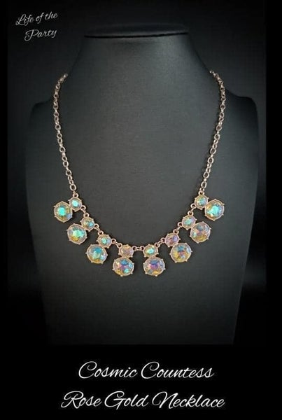 Paparazzi Cosmic Countess - Rose Gold with oval Iridescent gems Necklace & Earrings - July 2021 Life of the Party Exclusive