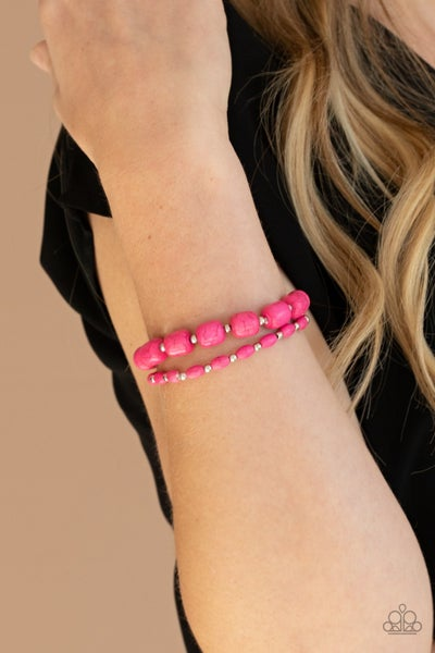 Colorfully Country - Pink Beaded Stretchy Bracelets