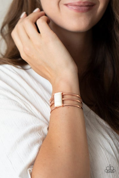 Rural Recreation - Copper with rectangle White Crackle Stone Cuff Bracelet