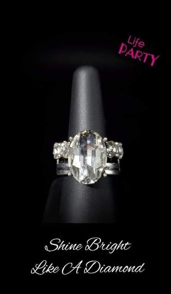 Shine Bright Like A Diamond  - Silver with Large Rhinestone Ring - Life of the Party Exclusive