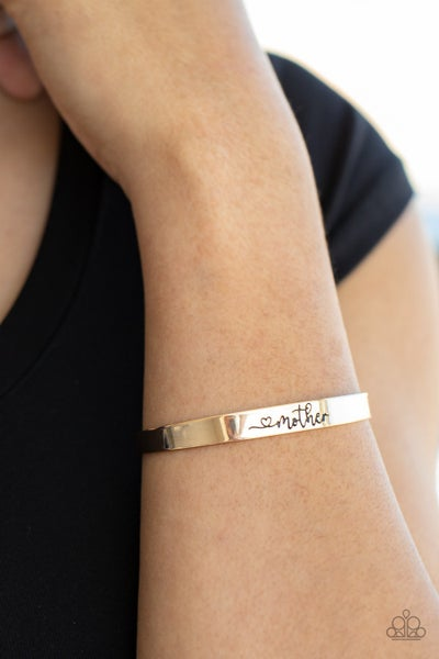 Pre-Sale Sweetly Named - Stamped with a Heart & the word Mother on a Gold Cuff Bracelet