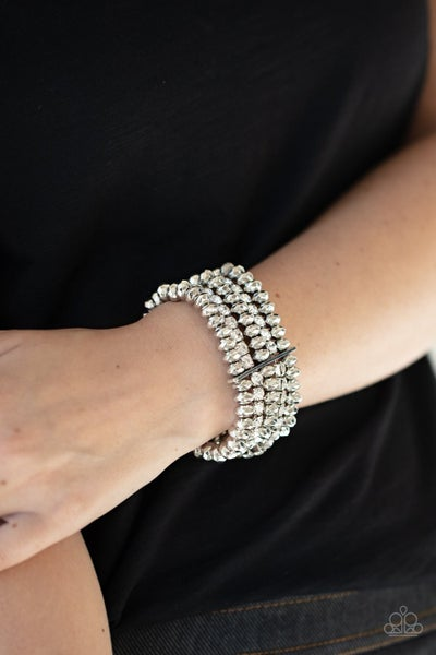 Best of LUXE - White Silver with Rhinestones Stretch Bracelet - 3/2021 Life of the Party