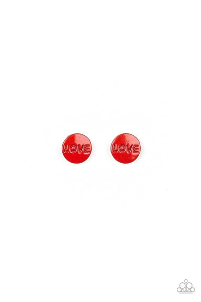 Multiple Colored Circles stamped with the word Love - Post Back Earrings