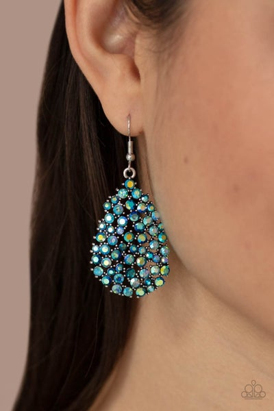 Daydreamy Dazzle - Multi-Iridescent Blue Rhinestone Teardrop Earrings