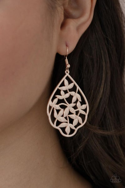 Taj Mahal Gardens - Leafy Rose Gold filigree Earrings