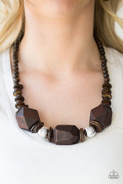 Costa Maya Majesty - Brown Wooden Beads with Silver Bead Accents Necklace & Earrings