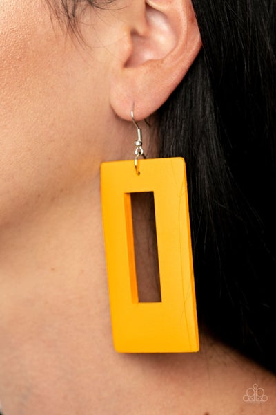 Pre-Sale Totally Framed - Yellow Wood Rectangle Frame Earrings
