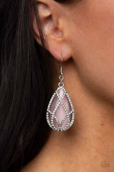 Crawling With Couture - Silver with Pink Teardrop Moonstone Earrings