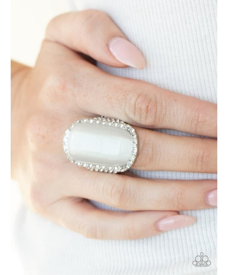 Thank Your LUXE-y Stars - White Moonstone/Cat's Eye stone surrounded by White Rhinestones Adjustable Ring - July 2021 Life of the Party Exclusive