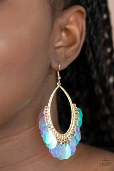Mermaid Magic - Gold with Iridescent Sequins Earrings plus 1 Mystery Piece