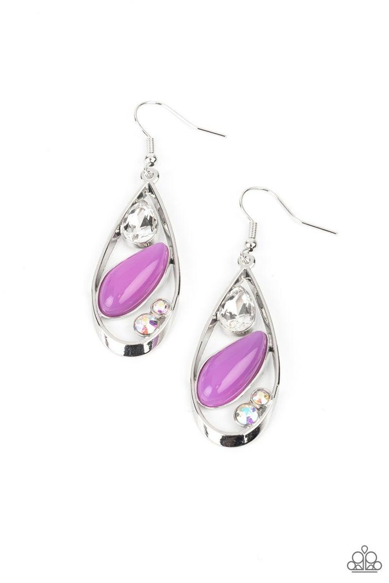 Harmonious Harbors - Silver with Purple Moonstone Earrings