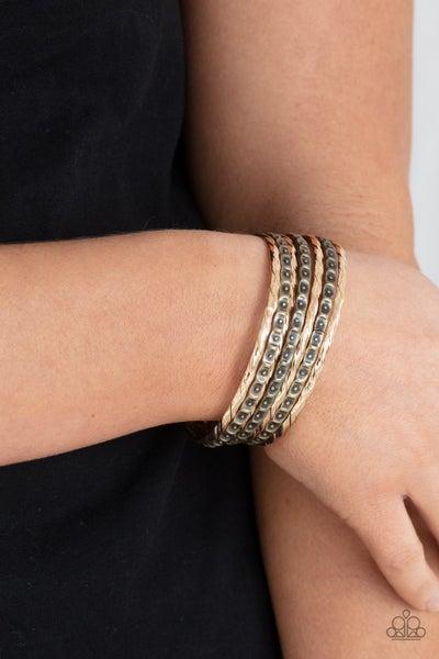 Back-To-Back Stacks - Multi ribbon textured Gold & Hammered Brass Bangle Bracelets