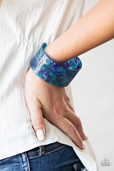 Cosmic Couture - Blue Marbled Acrylic Bracelet